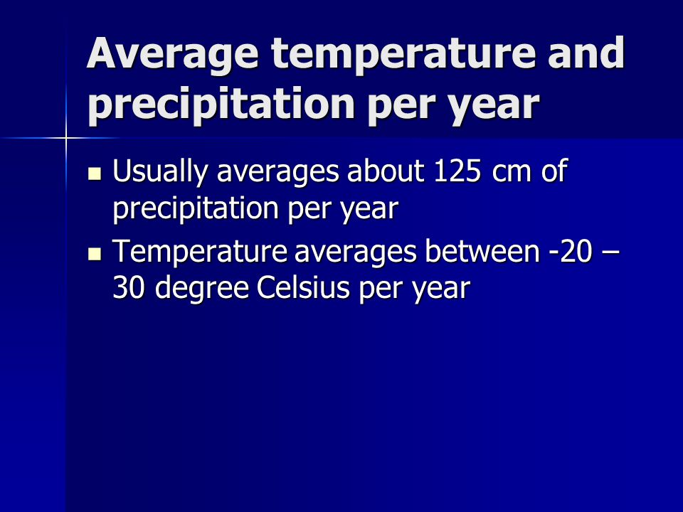Average temperature and precipitation per year Usually averages about 125 cm of precipitation per year Usually averages about 125 cm of precipitation