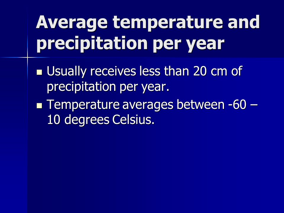 Average temperature and precipitation per year Usually receives less than 20 cm of precipitation per year. Usually receives less than 20 cm of precipi