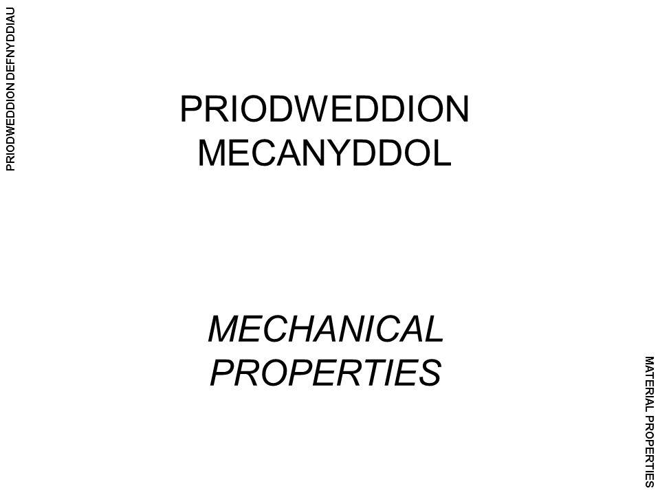 PRIODWEDDION DEFNYDDIAU MATERIAL PROPERTIES PRIODWEDDION MECANYDDOL MECHANICAL PROPERTIES