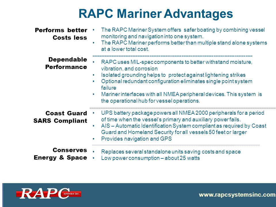 RAPC Mariner Advantages Confidential Performs better Costs less Dependable Performance The RAPC Mariner System offers safer boating by combining vessel monitoring and navigation into one system.