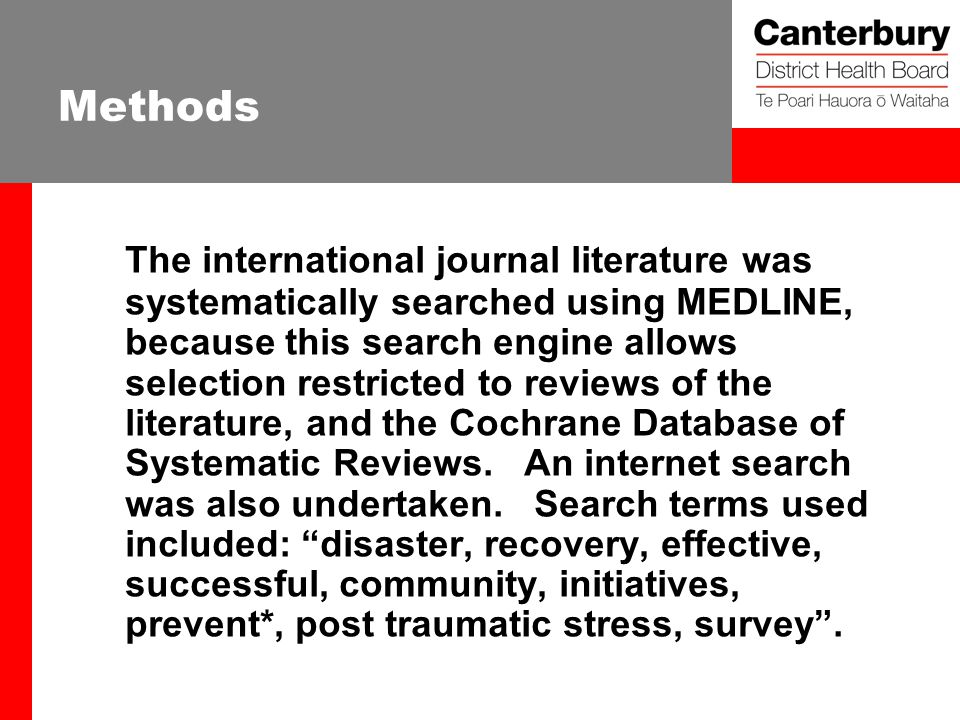 Methods The international journal literature was systematically searched using MEDLINE, because this search engine allows selection restricted to reviews of the literature, and the Cochrane Database of Systematic Reviews.