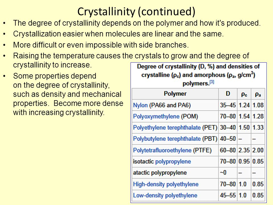 Crystallinity (continued) The degree of crystallinity depends on the polymer and how it s produced.