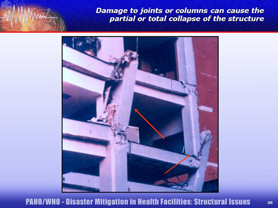 20 Damage to joints or columns can cause the partial or total collapse of the structure