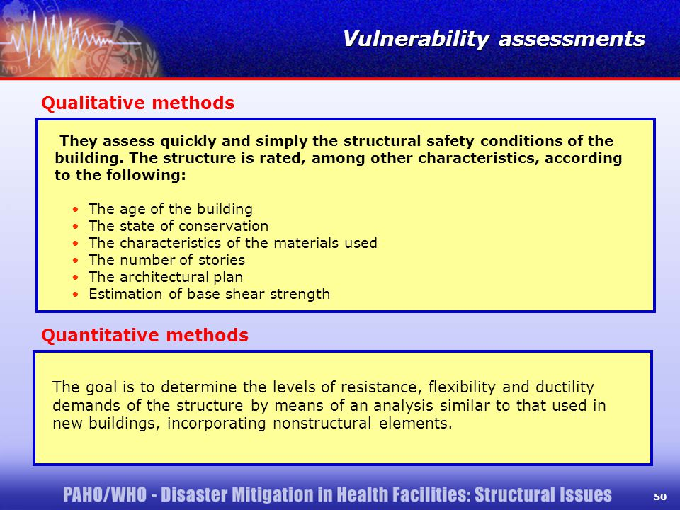 50 Qualitative methods They assess quickly and simply the structural safety conditions of the building.