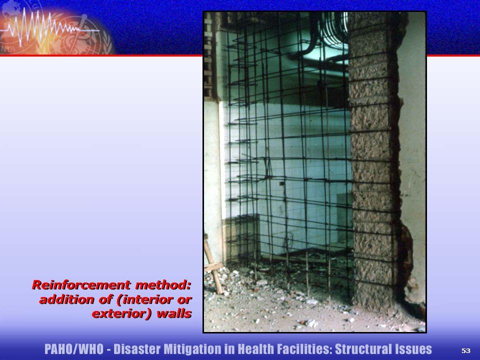 53 Reinforcement method: addition of (interior or exterior) walls