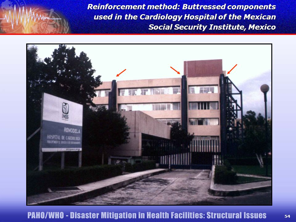 54 Reinforcement method: Buttressed components used in the Cardiology Hospital of the Mexican Social Security Institute, Mexico