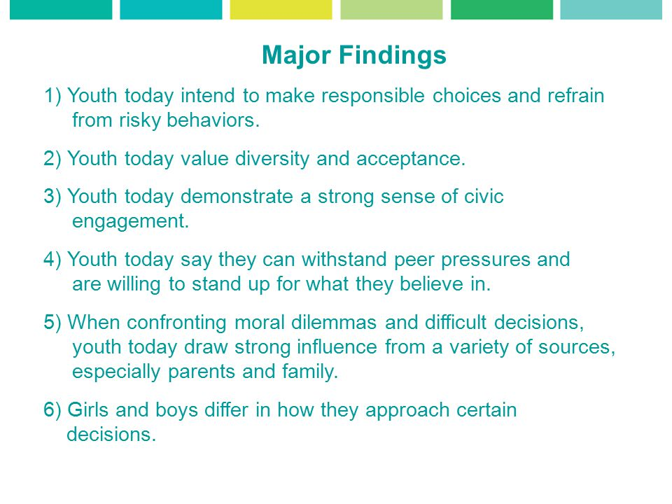 Major Findings 1) Youth today intend to make responsible choices and refrain from risky behaviors.