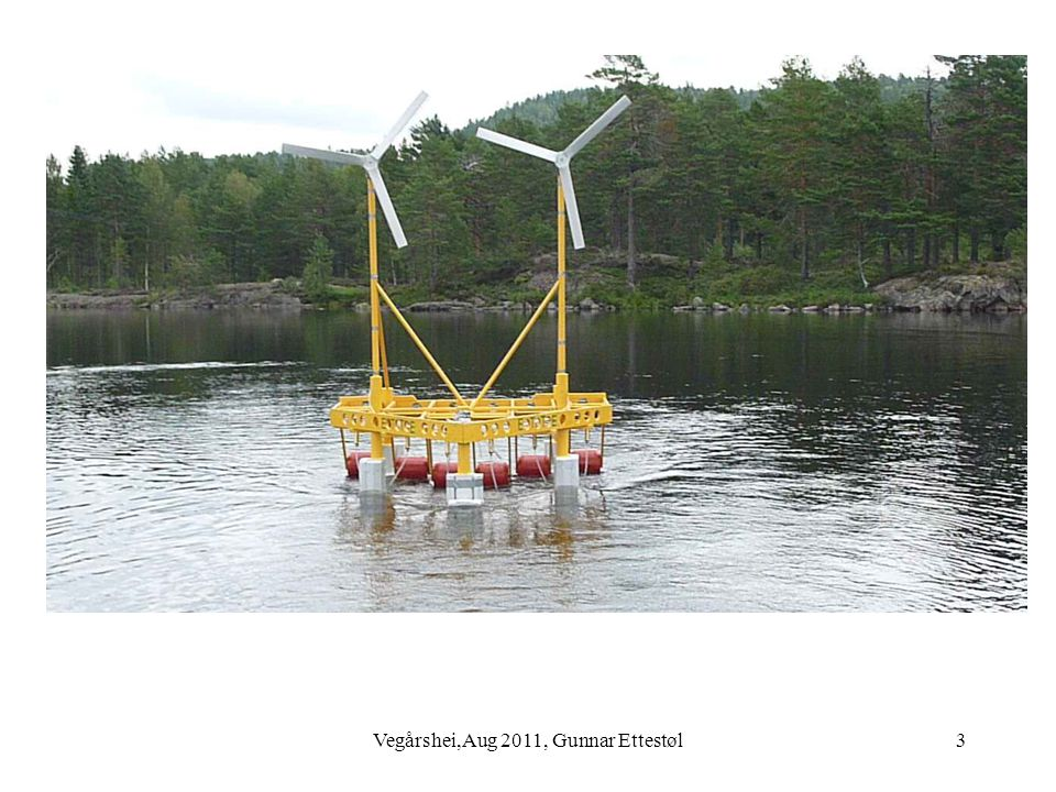 Vegårshei,Aug 2011, Gunnar Ettestøl14 6 MW wind turbine rig, side view Rigid construction 2 contra rotating 3 MW wind turbines Machinery: 2 oil pumps and 1:2:4:8 hydraulic motor and generator Side-thrusters and ballast regulation in rear legs.