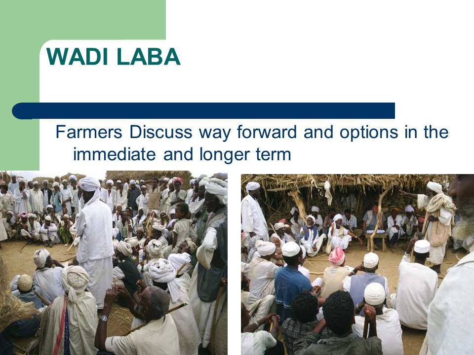 WADI LABA Farmers Discuss way forward and options in the immediate and longer term