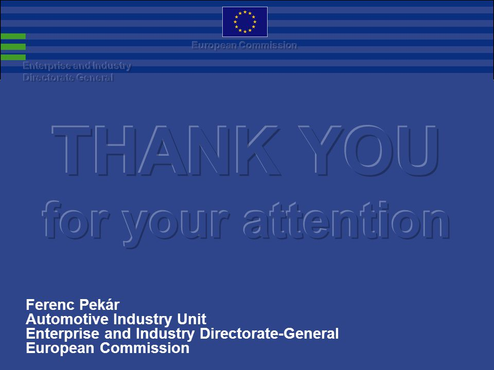 Ferenc Pekár Automotive Industry Unit Enterprise and Industry Directorate-General European Commission