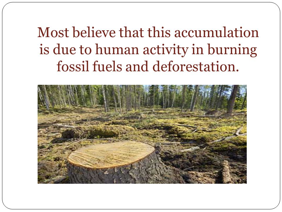 Most believe that this accumulation is due to human activity in burning fossil fuels and deforestation.