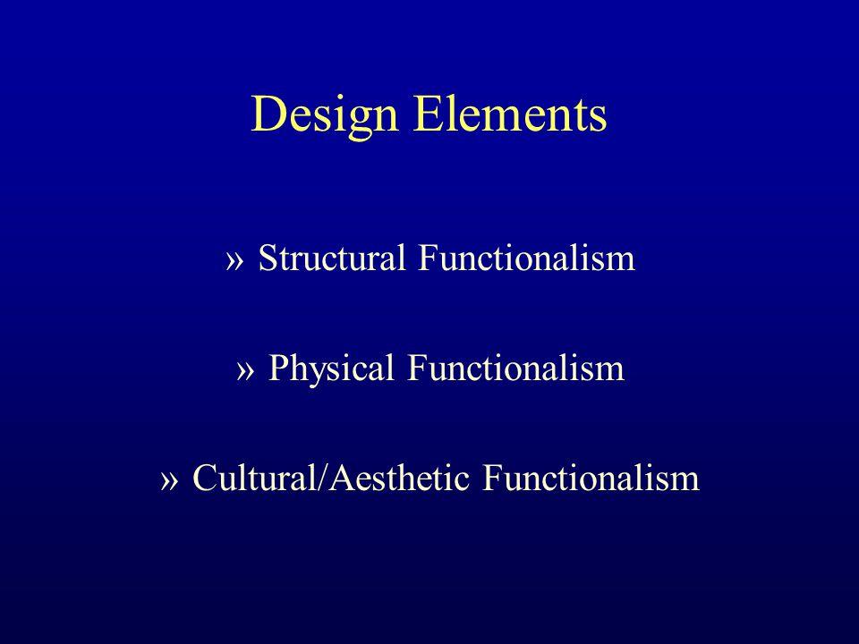 Design Elements »Structural Functionalism »Physical Functionalism »Cultural/Aesthetic Functionalism