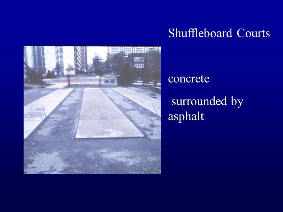 Shuffleboard Courts concrete surrounded by asphalt