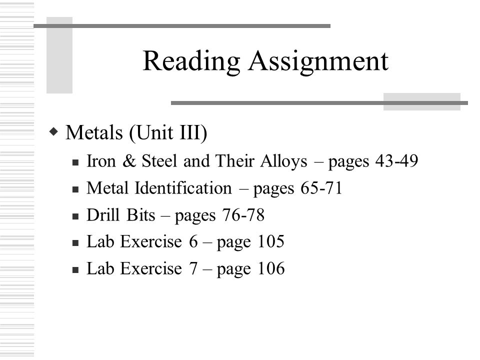 Reading Assignment  Metals (Unit III) Iron & Steel and Their Alloys – pages 43-49 Metal Identification – pages 65-71 Drill Bits – pages 76-78 Lab Exercise 6 – page 105 Lab Exercise 7 – page 106