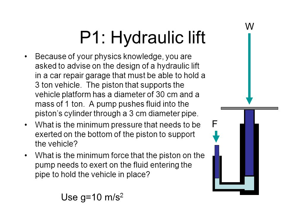 P1: Hydraulic lift Because of your physics knowledge, you are asked to advise on the design of a hydraulic lift in a car repair garage that must be able to hold a 3 ton vehicle.