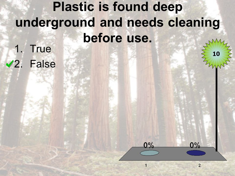Plastic is found deep underground and needs cleaning before use. 1.True 2.False 10