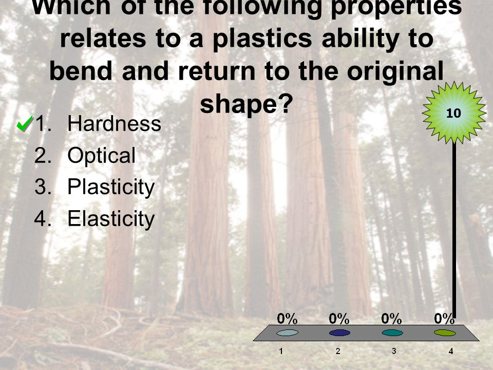 Which of the following properties relates to a plastics ability to bend and return to the original shape.