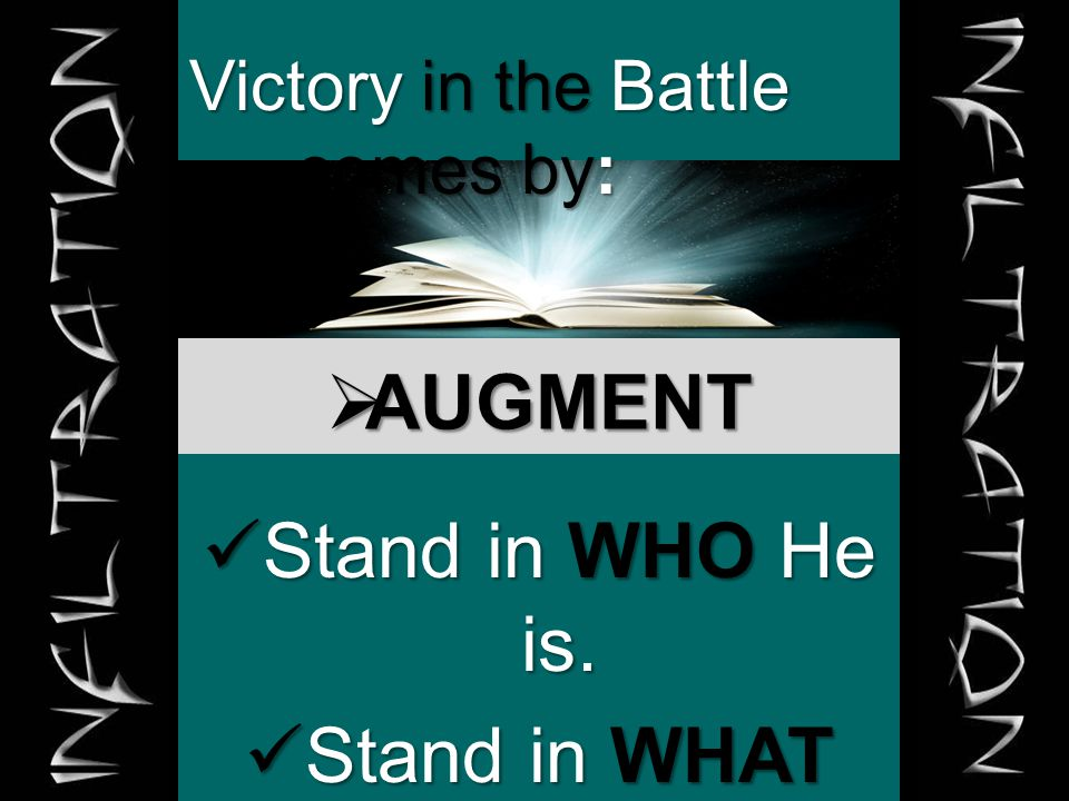  AUGMENT Victory in the Battle comes by: Stand in WHO He is.