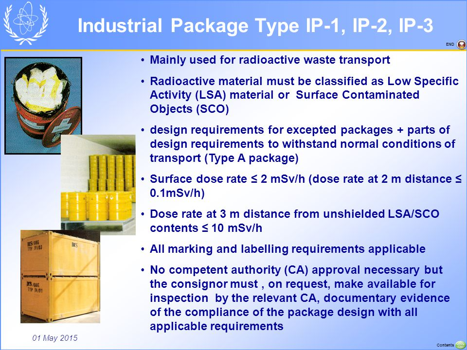 01 May 2015 Contents END Industrial Package Type IP-1, IP-2, IP-3 Mainly used for radioactive waste transport Radioactive material must be classified