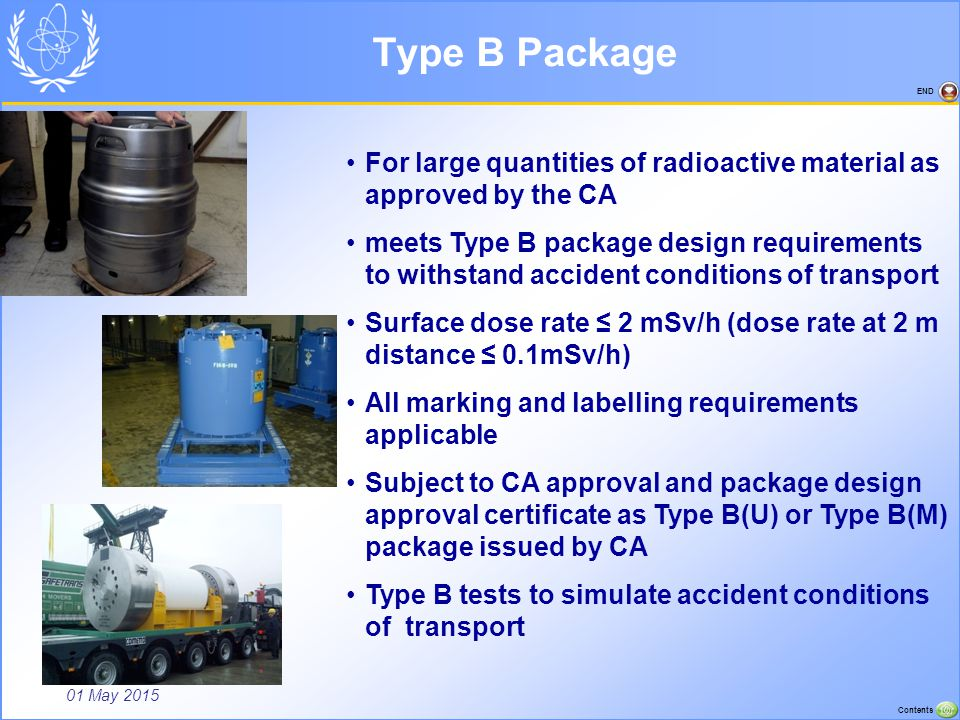 01 May 2015 Contents END Type B Package For large quantities of radioactive material as approved by the CA meets Type B package design requirements to