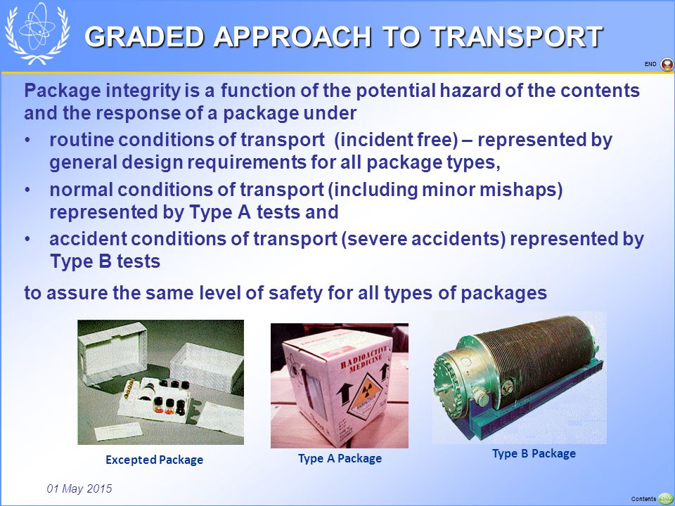 01 May 2015 Contents END GRADED APPROACH TO TRANSPORT Package integrity is a function of the potential hazard of the contents and the response of a pa