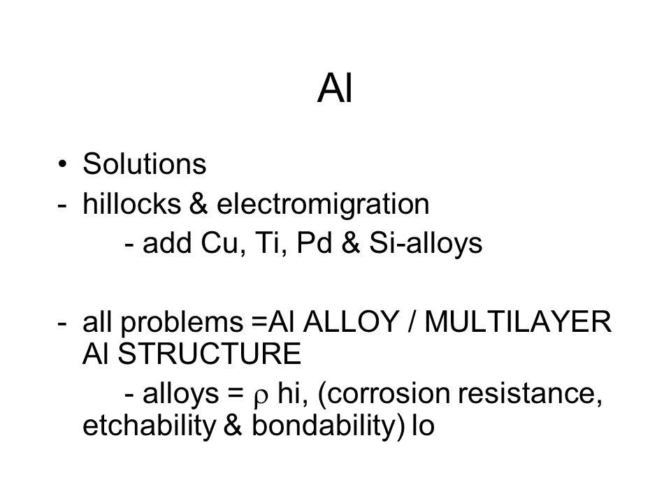 Al Solutions -hillocks & electromigration - add Cu, Ti, Pd & Si-alloys -all problems =Al ALLOY / MULTILAYER Al STRUCTURE - alloys =  hi, (corrosion resistance, etchability & bondability) lo