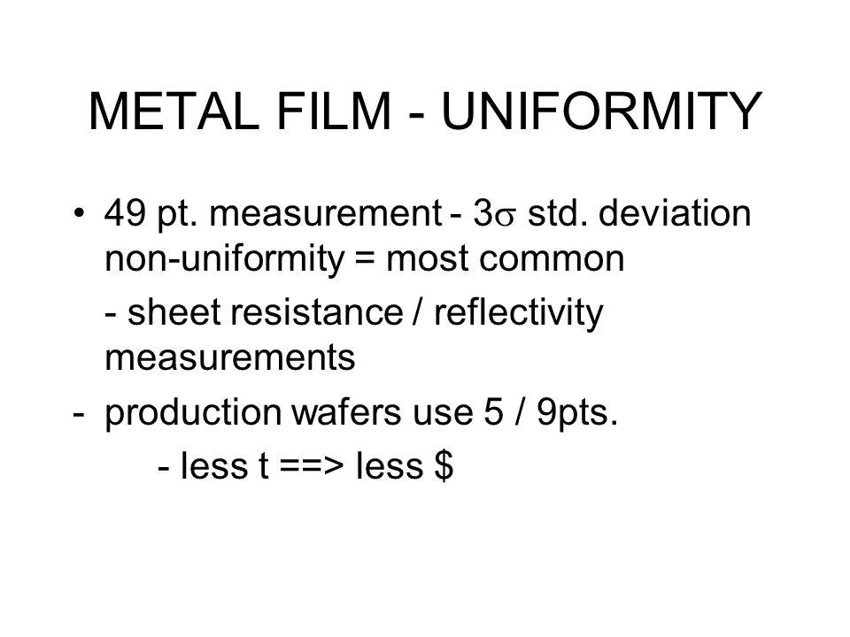 METAL FILM - UNIFORMITY 49 pt. measurement - 3  std.