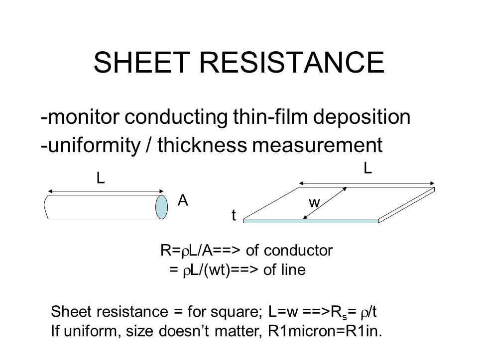 SHEET RESISTANCE -monitor conducting thin-film deposition -uniformity / thickness measurement L A t w L R=  L/A==> of conductor =  L/(wt)==> of line Sheet resistance = for square; L=w ==>R s =  /t If uniform, size doesn't matter, R1micron=R1in.