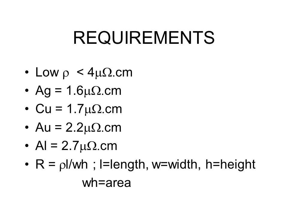 REQUIREMENTS Low  < 4  cm Ag = 1.6  cm Cu = 1.7  cm Au = 2.2  cm Al = 2.7  cm R =  l/wh ; l=length, w=width, h=height wh=area