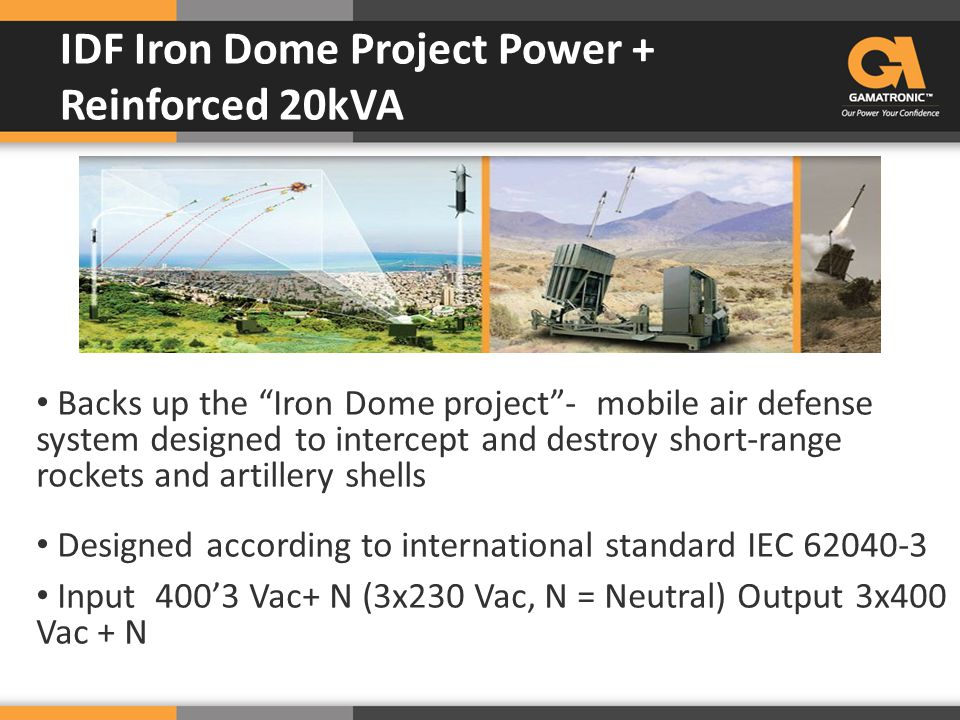 "Backs up the ""Iron Dome project""- mobile air defense system designed to intercept and destroy short-range rockets and artillery shells Designed accord"