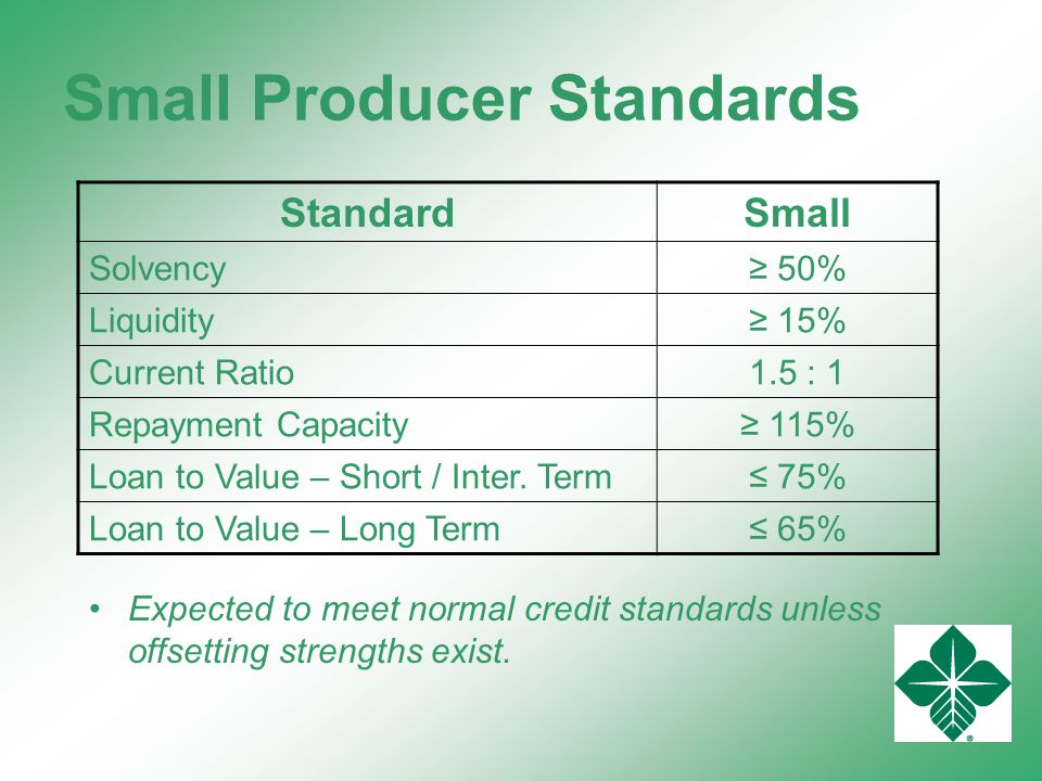 Small Producer Standards Expected to meet normal credit standards unless offsetting strengths exist.