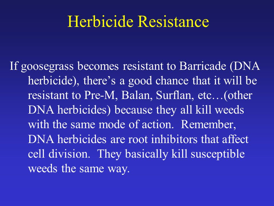 Herbicide Resistance If goosegrass becomes resistant to Barricade (DNA herbicide), there's a good chance that it will be resistant to Pre-M, Balan, Surflan, etc…(other DNA herbicides) because they all kill weeds with the same mode of action.