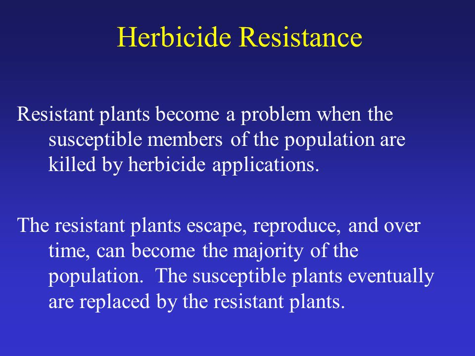 Herbicide Resistance Resistant plants become a problem when the susceptible members of the population are killed by herbicide applications.