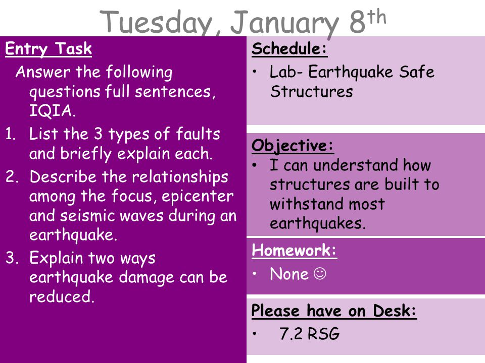 Tuesday, January 8 th Entry Task Answer the following questions full sentences, IQIA.