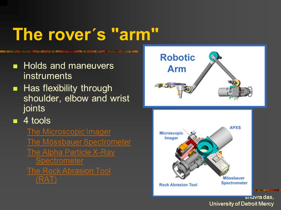 shuvra das, University of Detroit Mercy The rover´s arm Holds and maneuvers instruments Has flexibility through shoulder, elbow and wrist joints 4 tools The Microscopic Imager The Mössbauer Spectrometer The Alpha Particle X-Ray Spectrometer The Rock Abrasion Tool (RAT)