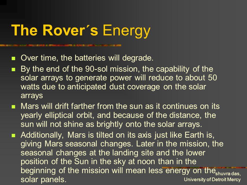 shuvra das, University of Detroit Mercy The Rover´s Energy Over time, the batteries will degrade.
