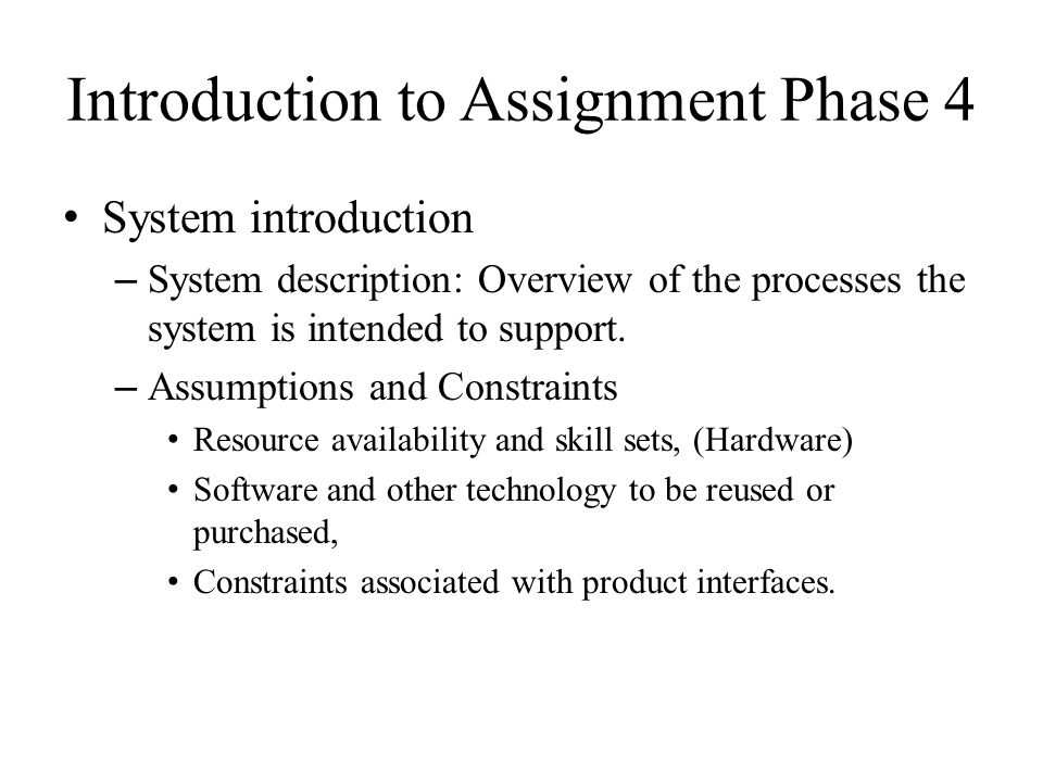 Introduction to Assignment Phase 4 Implementation Plan – User Manual – Test plan – Staff plan – Time plan