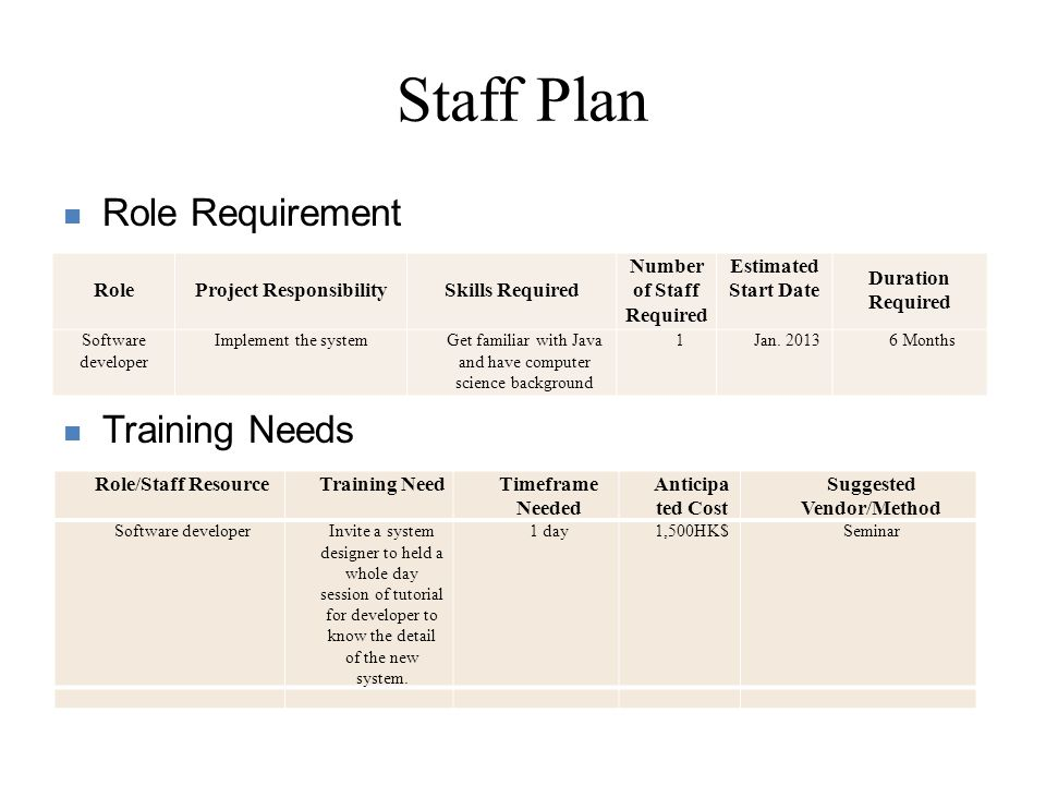 Time Plan : Gantt chart Time arrangement for major tasks First Level (if waterfall model is adopted) Second Level (Implementation as an example)