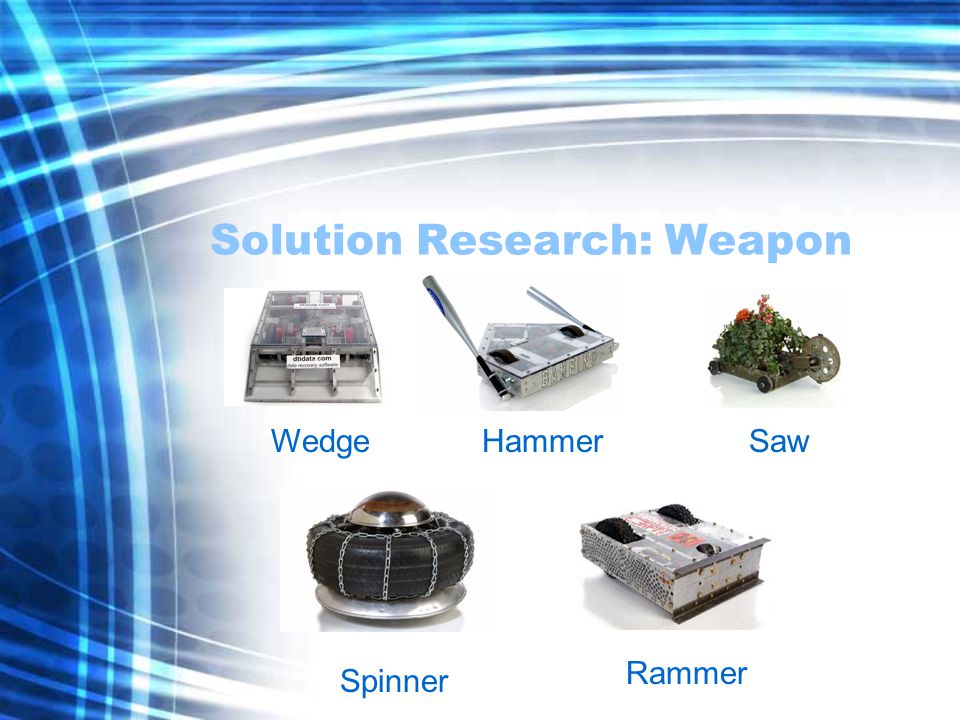 Solution Research: Drive Element Tank drive -Maximum mobility, ultimate simplicity -Utilizes two separate motors for turning Walking -Consume large amounts of power -Easy to Damage