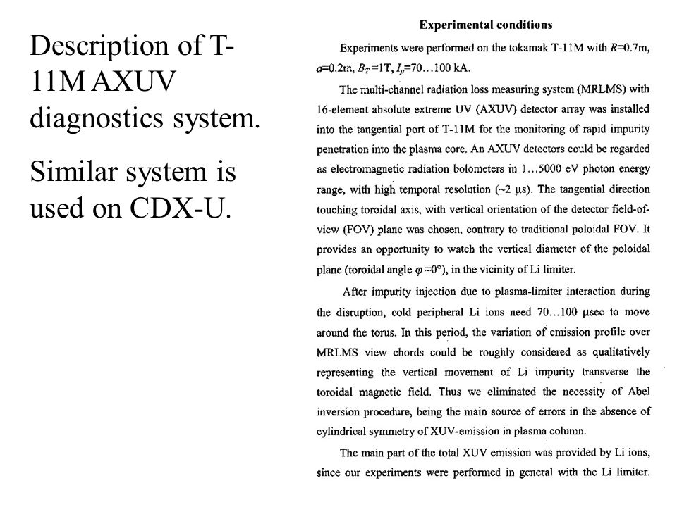 Description of T- 11M AXUV diagnostics system. Similar system is used on CDX-U.