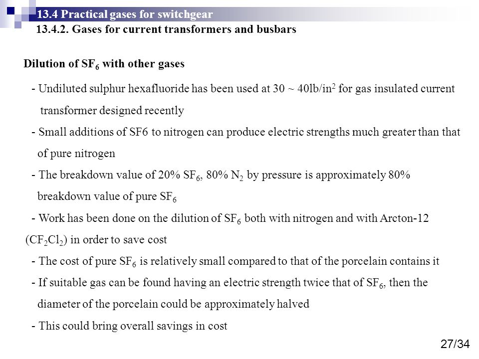 13.4 Practical gases for switchgear 13.4.2.