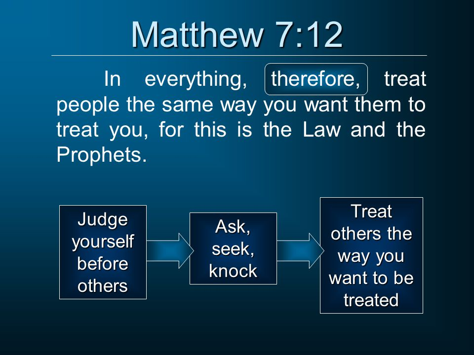 Matthew 7:12 In everything, therefore, treat people the same way you want them to treat you, for this is the Law and the Prophets. Judge yourself befo