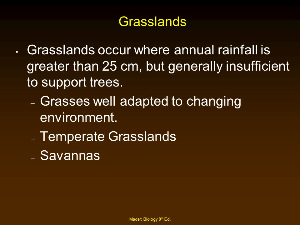 Mader: Biology 8 th Ed. Grasslands Grasslands occur where annual rainfall is greater than 25 cm, but generally insufficient to support trees. – Grasse