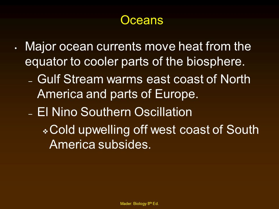 Mader: Biology 8 th Ed. Oceans Major ocean currents move heat from the equator to cooler parts of the biosphere. – Gulf Stream warms east coast of Nor