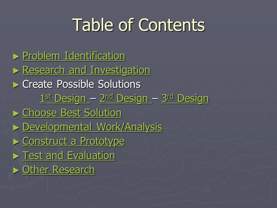 Table of Contents ► Problem Identification Problem Identification Problem Identification ► Research and Investigation Research and Investigation Resea