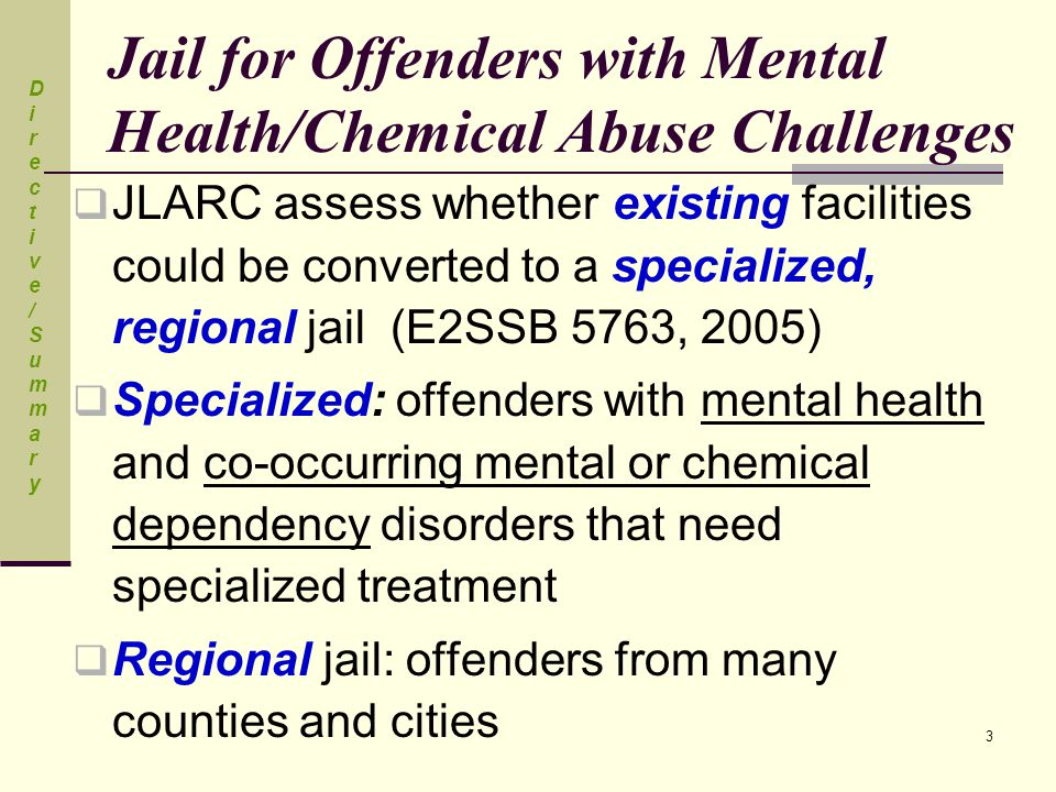 3 Jail for Offenders with Mental Health/Chemical Abuse Challenges  JLARC assess whether existing facilities could be converted to a specialized, regi
