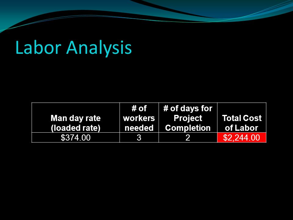 Labor Analysis Man day rate (loaded rate) # of workers needed # of days for Project Completion Total Cost of Labor $374.0032$2,244.00