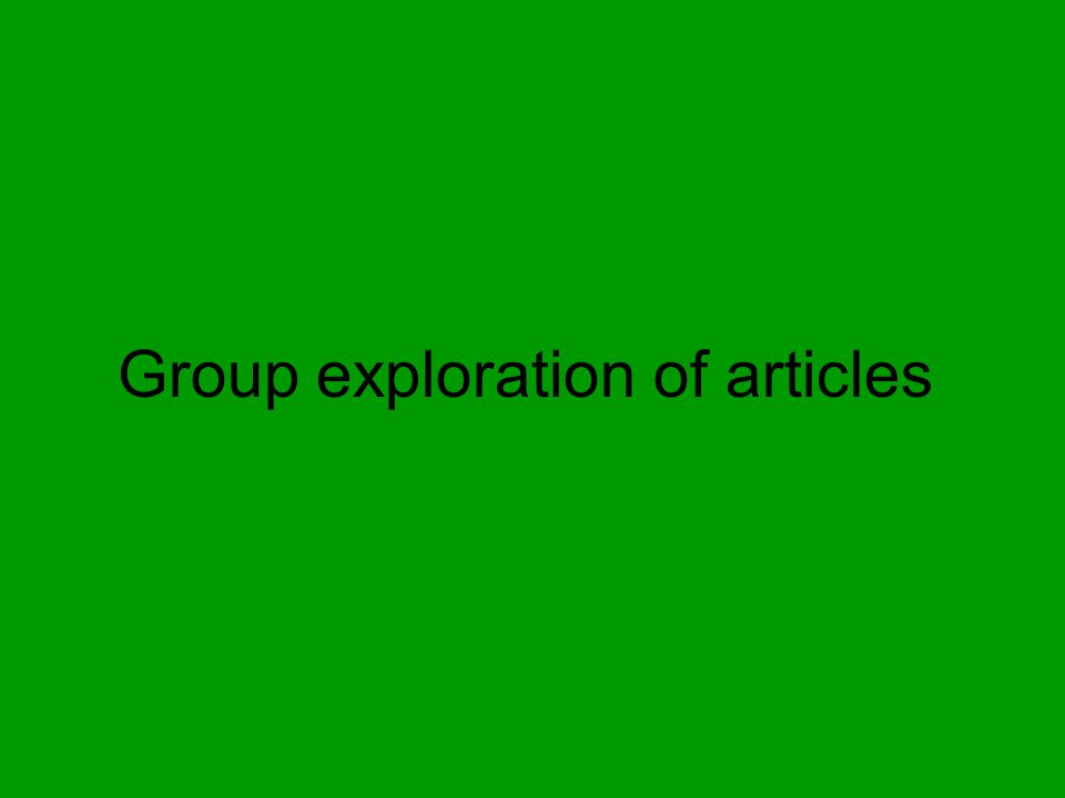 Group exploration of articles