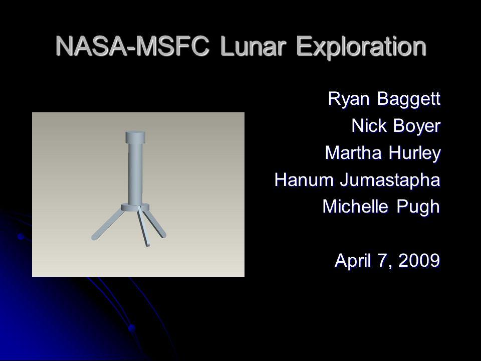 NASA-MSFC Lunar Exploration Ryan Baggett Nick Boyer Martha Hurley Hanum Jumastapha Michelle Pugh April 7, 2009