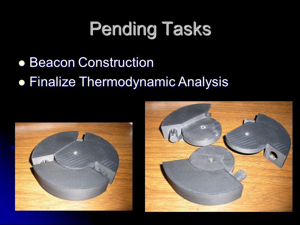 Pending Tasks Beacon Construction Beacon Construction Finalize Thermodynamic Analysis Finalize Thermodynamic Analysis